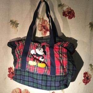 Vintage Disney plaid tote- Embroidered